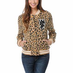 WeSC Girls Lakai Tan Leopard Print Fleece Varsity Jacket