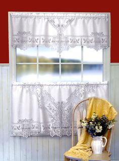 Heirloom from Heritage Lace is made in the U.S. and is available in Tiers, Valances, Swag Valances and Panels.