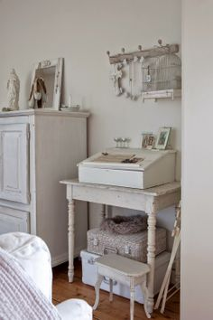 """I have a writer's """"laptop"""" desk like the one on top of the table – it's wood colored now (varnished) but painting it white or light grey might be a great option..."""