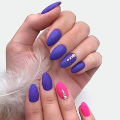 Stunning Combination Of Bright Purple And Delicate Rhinestones Accents #purplenails #rhinestonesnails ❤️ Summer designs of all shades: black, red, white, pink, natural, ombre - all with the trendy matte top! ❤️ See more: https://naildesignsjournal.com/matte-nails-art-trendy-colors/ #naildesignsjournal #nails #nailart #naildesigns #mattenails #mattecolors #mattepolish #mattemanicure