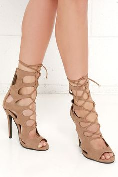 Cage for Cutie Natural Lace-Up Heels at Lulus.com!