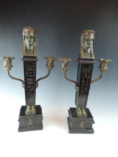 "EGYPTIAN REVIVAL CANDELABRUM, bronze and wood, circa 1900, 16-3/4""H"