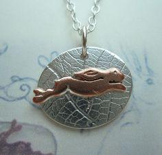 Running Hare Silver Pendant - (Moonlight Series) - dainty £28.00 www.myjewellerydesigner.co.uk