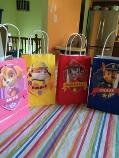 Paw Patrol gift bags are perfect for take home treats for your guests. Each bag is 8.5 by 5 and the image is 6 inches. Bag colors coordinate