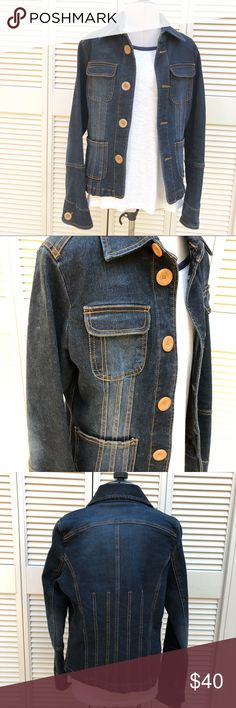 Denim Jean Jacket Stretchy fitted denim jacket by Tulle. Barely used and in excellent condition. Tulle Jackets & Coats Jean Jackets