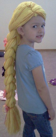 Rapunzel Yarn Wig by ronedesign on Etsy Minion Costumes, Baby Costumes, Crochet Hair Accessories, Crochet Hair Styles, Rapunzel Wig, Tutu, Halloween Diy, Halloween 2019, Yarn Wig
