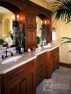 Bathroom Storage In The Middle Of Sinks Brown Cabinets Design, Pictures, Remodel, Decor and Ideas - page 5