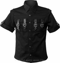 Gothic short sleeve shirt by Hard Leather Stuff, black with buckle detail.
