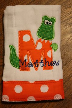 Personalized and appliqued burp cloth baby by AppliquesByGranjan, $16.00