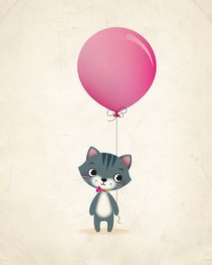 Cat and balloon nursery print kids by IreneGoughPrints on Etsy