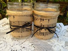 Decorated mason jar music themed home decor by QUEENBEADER on Etsy, $9.00