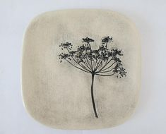 ceramic plate with plants relief platter organic plate