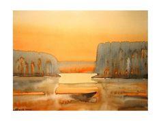 Sunrise, original watercolor painting Watercolor Paintings, Sunrise, Landscapes, My Arts, The Originals, Artwork, Paisajes, Scenery, Work Of Art