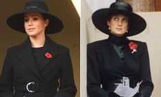 Meghan Markle's Remembrance Day outfit looks similar to one worn by Princess Diana in fans say Princess Meghan, Prince And Princess, Stella Mccartney Coat, Princess Diana Fashion, Prince Harry And Megan, Meghan Markle Style, Thing 1, Remembrance Day, Princesa Diana