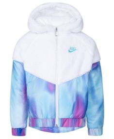 Nike Little Girls Faux-Sherpa Hooded Windrunner Jacket - Black 5 Cute Swag Outfits, Sporty Outfits, Pink Outfits, Fashion Outfits, Nike Floral, Nike Hoodie, Nike Jacket, Cute Jackets, Jackets For Girls