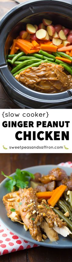 This Thai-inspired slow cooker ginger peanut chicken cooks along with baby potatoes, green beans and carrots!