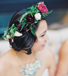 marsala wedding flower crown