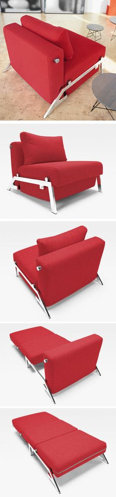 Red Cubed Sleek Chair Bed - Love the Stylish Silver Accents, It pull out into a Twin Size Bed.