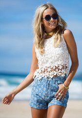 Floral Crochet Tank - White - Woven Sleeveless Top