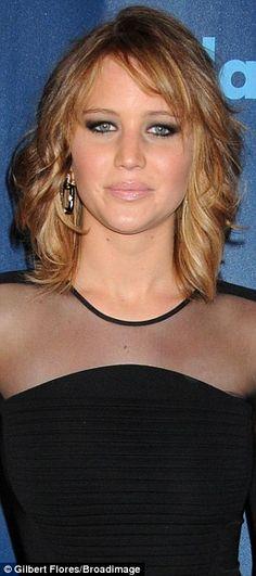 Jennifer Lawrence revealed shorter, lighter locks at the 2013 GLAAD Media Awards on Saturday in Los Angeles, California #hair #bob #haircut
