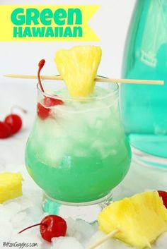 Green Hawaiian Cocktail Green Hawaiian Cocktail – a beautiful and refreshing combination of vodka, coconut rum, blue curacao, pineapple juice and lemon-lime soda. It's the perfect drink for summer! – Cocktails and Pretty Drinks Party Drinks, Cocktail Drinks, Cocktail Recipes, Vodka Cocktails, Martinis, Blue Drinks, Summer Drinks, Blue Curacao Drinks, Green Alcoholic Drinks