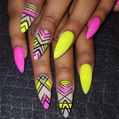 Neon mix nail-art by Oli23♥•♥•♥