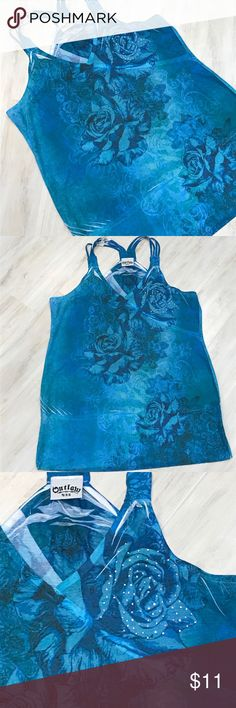 Outlaw U.S.A. blue racer back tank top Pretty blue racer back tank top, floral print and bling. Outlaw U.S.A. Tops Tank Tops