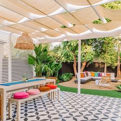 The Mindwelling: Our Colorful California Backyard Reveal - Studio DIY Small Backyard, Outdoor Decor, Bench Table, Studio Diy, Backyard Makeover, Patio Spaces, Front Yard