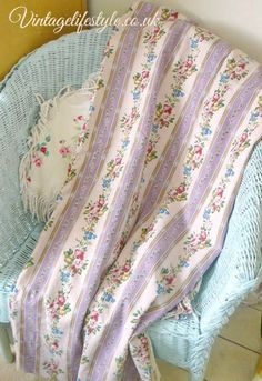 Lilac striped and floral curtains