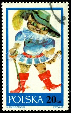 Cat in boots polish stamp