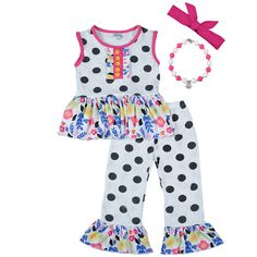 d51643a5a4aee New Design 2018 Baby Clothes Polka Dot Top Print Decor Ruffle Pants Summer Girls  Clothing Sets With Headband and Necklace.