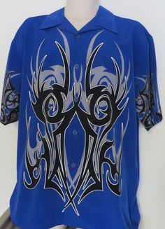 DRAGONFLY SHIRT Button Front GRABBER BLUE Black Gray  NEW Large Tribal Print #Dragonfly #ButtonFront