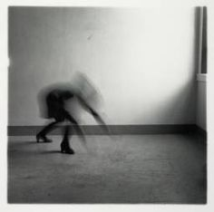 Francesca Woodman 'Space², Providence, Rhode Island, The blurred motion of the subject and their posture adds to the affect of the image. It gives the sense of being isolated and lost, as though trying to find their way. Francesca Woodman, Blur, Otto Steinert, Providence Rhode Island, Art Terms, Female Photographers, Black And White Pictures, Selfie, Film Photography