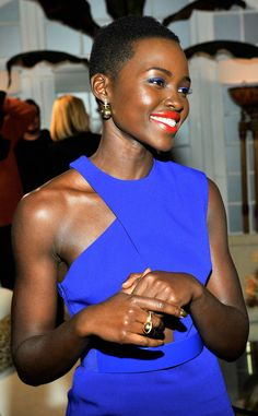 Lupita Nyong'o is bright and beautiful in blue! #fashion