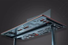 This circuit board desk integrates a cabling solution to give you the ultimate wire-free desk setup! | Yanko Design Red Dot Design, Tiny Apartments, Cable Organizer, Mac Mini, Yanko Design, Desk Setup, Work Desk, Circuit Board, Metal Furniture