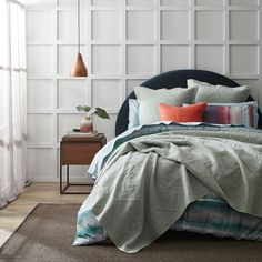 Rich in colour, the Nullarbor quilt cover will bring a restful style to any bedroom. Influenced by soft desert plains meeting the water's edge, this quilt cover is crafted from 250 thread count cotton and finished with a geometric printed reverse and filled piping trim. Coordinate with European pillowcases to complete the look. #duvetcover #bedding #patternedbedlinen #doonacover