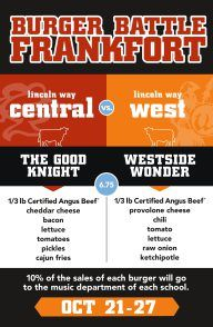 LWC-LWW Music Department Meatheads Burger Battle-Oct 21-27 http://newlenox.patch.com/groups/lincoln-way-central-music-boosters-20132014/p/lwclww-music-department-meatheads-burger-battleoct-2127_67c02f43