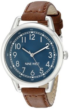 Nine West Women's NW/1699NVBN Easy-To-Read Watch with Brown Band * Check out the image by visiting the link.