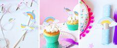 Einhorn Deko Ideen - selber basteln für die Kinder-Geburtstags-Party – einfach unser Free Printable kostenlos ausdrucken // DIY for cute unicorn decoration freebie download at FAMILICIOUS.de
