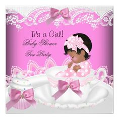 African American Baby Shower Girl Pink Baby Teacup Personalized Invite We have the best promotion for you and if you are interested in the related item or need more information reviews from the x customer who are own of them before please follow the link to see fully reviewsDiscount Dea... Elegant Baby Shower, Baby Shower Vintage, American Baby, African American Babies, Cupcake Invitations, Invites, Baby Shower Invitations, Baby Shower Party Favors, Baby Shower Parties