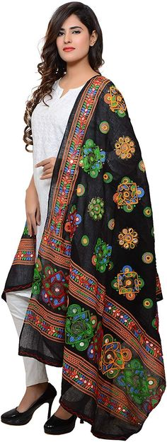 Banjara India Women's Cotton Embroidered Kutchi Dupatta Chakachak Material: Cotton Dry clean only meters length and 42 inches width Multicoloured aari embroidery work Kutchi print and mirror stickers Navratri Dress, Aari Embroidery, Mirror Stickers, Indian Sarees, Kimono Top, Women's Fashion, Actresses, Cotton, Closet