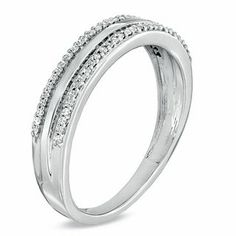 Men's 0.20 CT. T.W. Diamond Edge Wedding Band in 10K White Gold   View All Wedding   Wedding   Peoples Jewellers