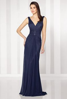 Brides: Cameron Blake. Sleeveless stretch mesh slim A-line gown with V-neckline. Center ruched bodice with hand-beading, cowl back and center gathered skirt. Matching shawl included.