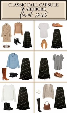 When a new season comes around, it's tempting to go a little crazy and buy tons of new clothes. But what usually happens with these shopping sprees is that you'll end up with 15 trendy sweaters and yet still feel like you don't know what to wear. The answer? Still shop, but shop strategically. In this post, we'll cover why you need a fall capsule wardrobe, what it should have, a shopping list, how to wear the key fall items, and lots more! #falloutfits #fallstyle #fallfashion #floralskirt Fall Capsule Wardrobe, Capsule Outfits, Fashion Capsule, Mode Outfits, Chic Outfits, Fall Outfits, Fashion Outfits, Mode Jeans, Mein Style