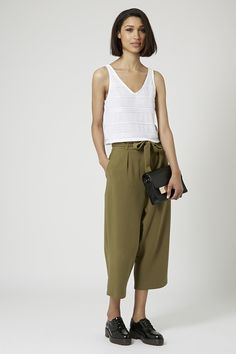 TOPSHOP: Belted Wide Leg Trousers
