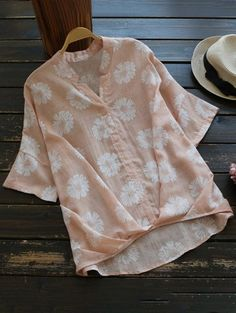 SHARE & Get it FREE | Sun Floral High Low Linen Blouse - Shallow PinkFor Fashion Lovers only:80,000+ Items • New Arrivals Daily Join Zaful: Get YOUR $50 NOW!