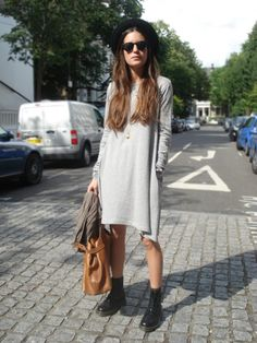long sleeve grey mid length dress and combat boots