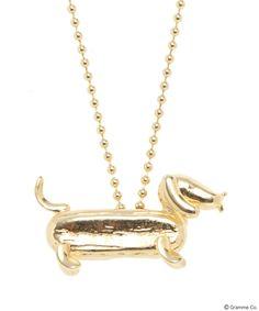Hotdog Dog Necklace (Yellow Gold)
