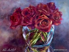 "A dazzling array of deep rich red roses with golden highlights overflowing from a sparkling sunlit vase.  Using Nadia's vivid use of color, this warm and sophisticated piece would fit perfectly in any room.  9"" x 12"" original oil painting on museum quality panel  Painting arrives framed and ready to hang in a high-end black frame with a gold interior (see frame image).     Free shipping in U.S. International rates billed separately"