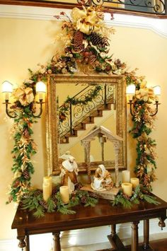 A selection of ideas for interior decoration for the New Year and Christmas Christmas Nativity Scene, Christmas Mantels, Noel Christmas, Christmas Colors, All Things Christmas, Christmas Wreaths, Christmas Crafts, Christmas Ornaments, Nativity Scenes